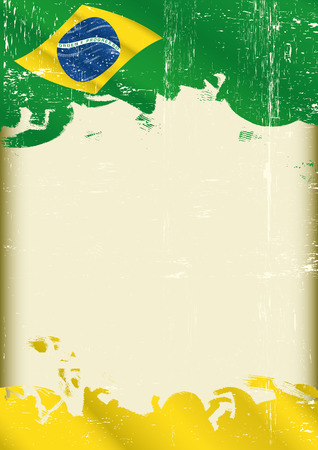 A poster with a large scratched frame and a grunge brazilian flag