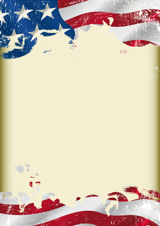 american history:  A poster with a large scratched frame and a Grunge USA flag