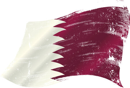 doha: A waving flag of qatar with a grunge texture Illustration