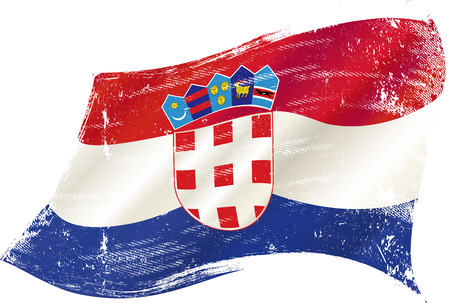 A waving flag of Croatia with a grunge texture Vector