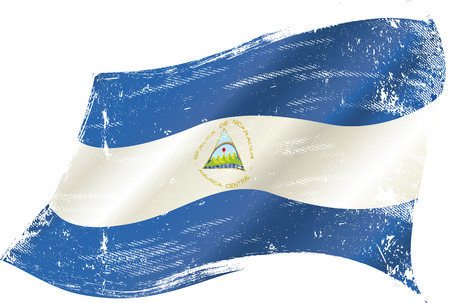 bad condition: A waving flag of Nicaragua with a grunge texture