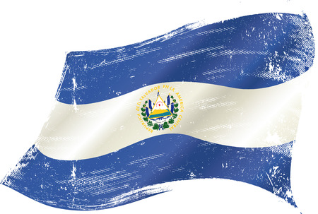 el salvador: A waving flag of el salvador with a grunge texture