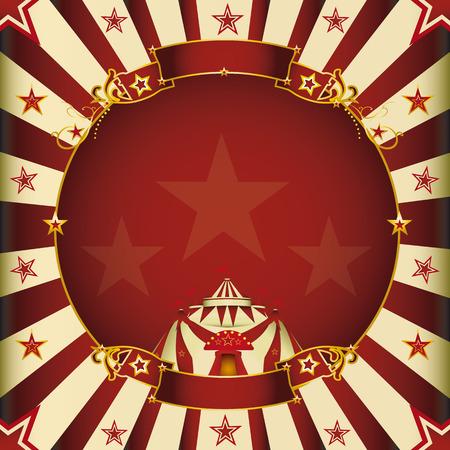 cabaret stage: un cartel cuadrado circo del vintage para su publicidad Vectores