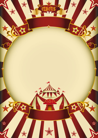 a circus vintage poster with a circle frame for your advertising  Illustration