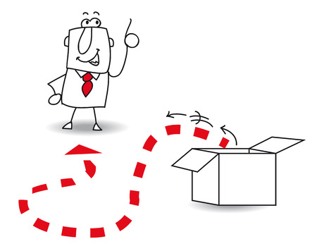 maverick: This businessman goes out this box  It Illustration