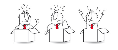 Three businessmen are in boxes  They can  イラスト・ベクター素材