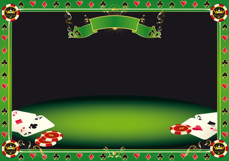 Aces on the table  A background with gambling elements  cards and Gambling Chips  on a table  It Vector