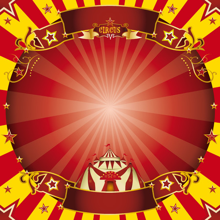 a circus vintage greeting card with a circle frame for your advertising  Vector