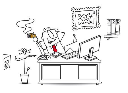 emprendimiento: el jefe en su oficina Vectores