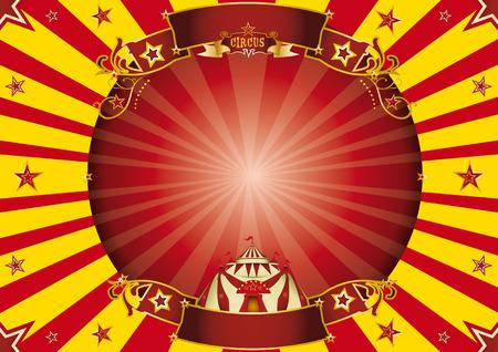 cabaret stage: un cartel horizontal de circo con un marco del c�rculo para su publicidad Ideal para una pantalla Vectores