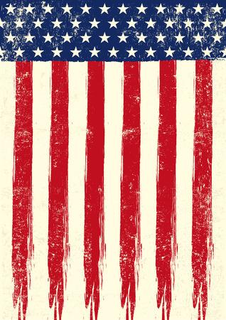 bandiera stati uniti: Una bandiera americana grunge degli Stati Uniti Vettoriali
