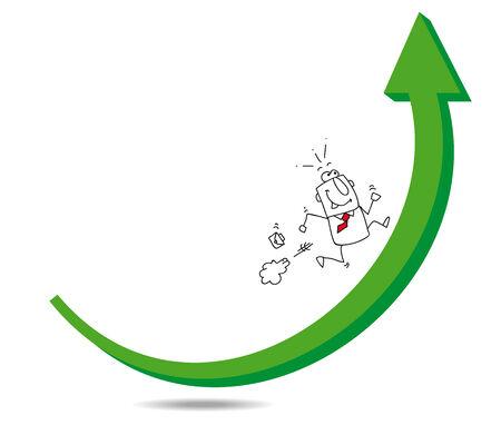 stock trader: Joe el hombre de negocios se est� ejecutando en una flecha verde