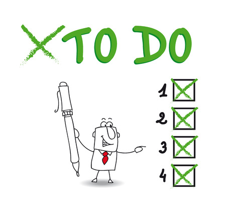 Joe have a list of things to do  He checks a list Illustration