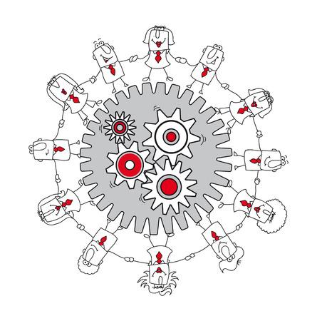 A business team around gears  Ilustração