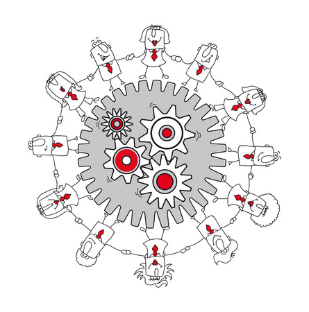 mutual help: A business team around gears  Illustration