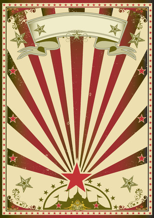 A grunge circus poster with red sunbeams for your advertising  Vector