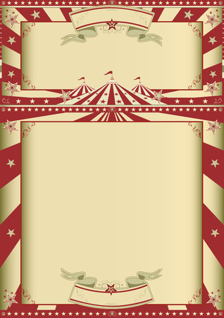 A grunge circus vintage poster with two frames for your message  Vector