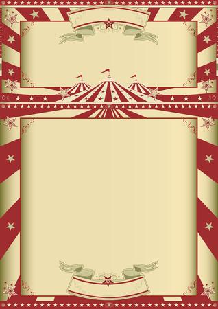 vintage: En grunge cirkus vintage affisch med två ramar för ditt meddelande Illustration