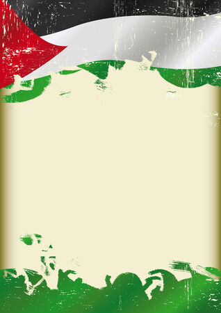 A poster with a large scratched frame and a grunge Grunge palestinian flag for your message  Vector