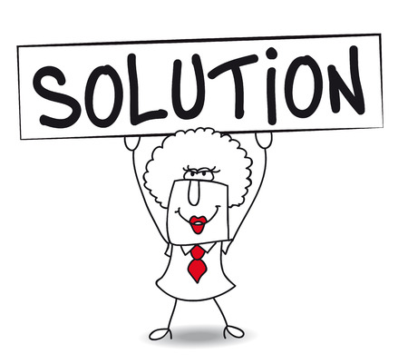 helping others: Brenda holds a placard on which there wrote SOLUTION Illustration