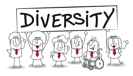 Different ethnic people are in the office  diversity is essential for the development of your company  Vector