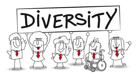 business meeting asian: Groupes ethniques diff�rents sont � la diversit� de bureau est essentiel pour le d�veloppement de votre entreprise Illustration
