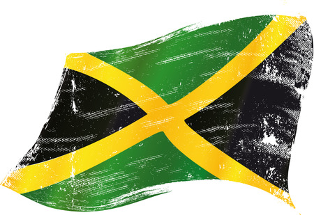 A waving flag of Jamaica with a grunge texture 版權商用圖片 - 30680756