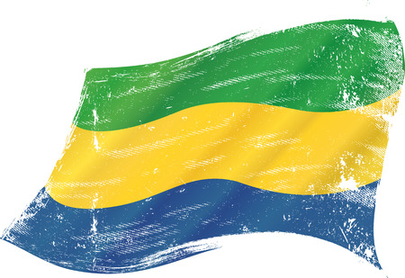 gabon: A grunge flag of Gabon in the wind for you