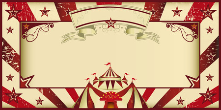 Circus invitation with sunbeams and a large frame  A retro invitation card for your circus company