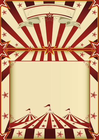 A grunge vintage poster with a circus tent and a large copy space for your advertising  Vector