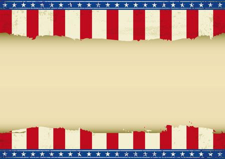 american poster: Un cartel americano horizontal con un espacio vac�o para el mensaje de tama�o ideal para su pantalla, su touch-pad Vectores