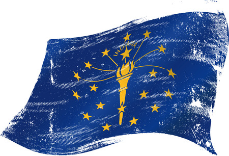 indiana: flag of  Indiana in the wind with a texture Illustration