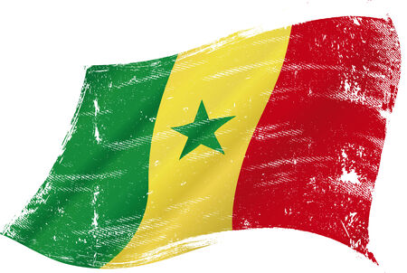 dakar: flag of  Senegal in the wind with a texture Illustration