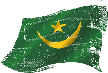 A grunge mauritanian flag in the wind for you Vector