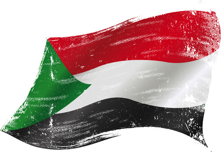 sudan: A waving flag of Sudan with a grunge texture