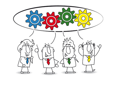 represents: This teamwork is very productive  Each of the businessmen have an idea for resolve the problem  each colored gear represents the idea of each businessman  similar color