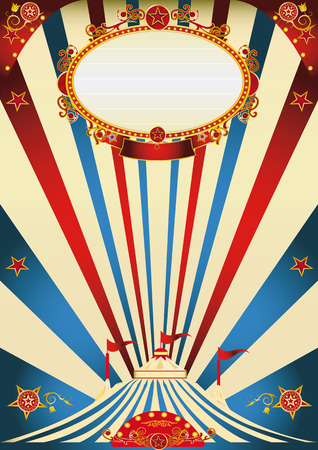A vintage circus poster with sunbeams for your advertising Vector