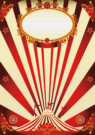 A vintage circus poster with red sunbeams for your advertising Vector