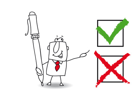 Joe, the business man checked a list with a pen  True or false that the question  Vector