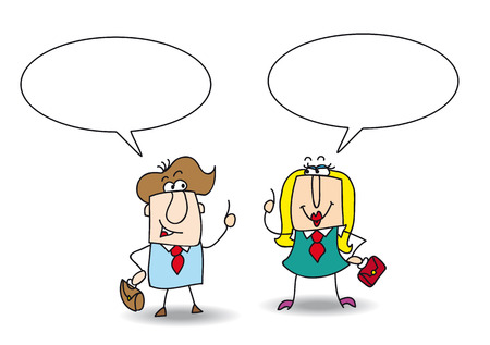 sweetened: A businessman and a businesswoman are talking together  Write your message in the copy space