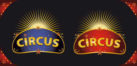 two circus signs in the night for your entertainment Vector