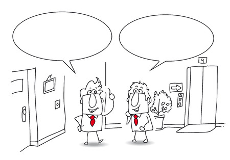 conversaciones: Dos hombres de negocios están hablando juntos en la oficina. Escribe tu mensaje en el espacio de la copia