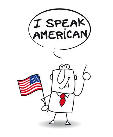 このビジネスマンを話すアメリカ人