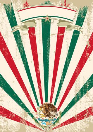 bandera de mexico: Un cartel mexicano de la vendimia con los rayos solares para su publicidad