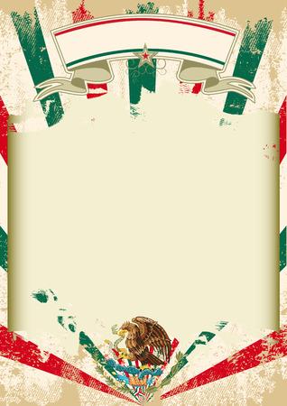 bandera de mexico: Un cartel mexicano de la vendimia con los rayos de sol y un gran marco libre
