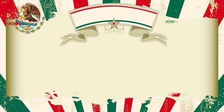 Una tarjeta de felicitación mexicana de la vendimia con los rayos solares y un gran marco libre para su publicidad Vectores