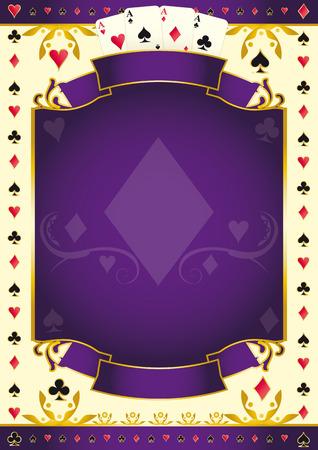 A purple background for your Poker Tour with a Diamond shape. Write your message on the empty frame. Ilustração