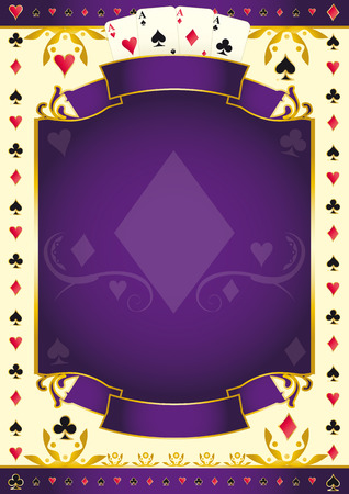 full frame: A purple background for your Poker Tour with a Diamond shape. Write your message on the empty frame. Illustration