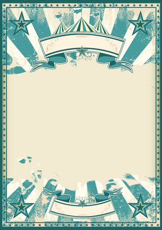 A blue vintage circus background with a large grunge empty space for a poster Vectores