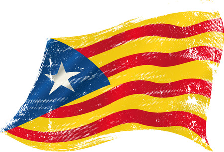 flag of spain: flag of Catalonia Estelada blava in the wind with a texture